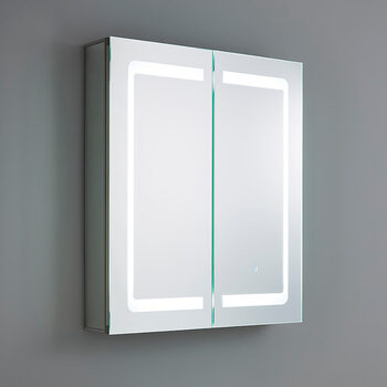 SPA Hym 2 Door 34W LED Mirror Cabinet, 80 x 60 x 13 cm