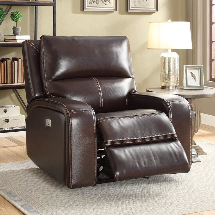Zach Brown Leather Power Recliner Armchair | Costco UK