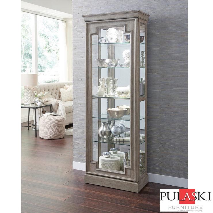 pulaski display cabinet with led light adjustable glass shelves and rh costco co uk  china cabinet led lights