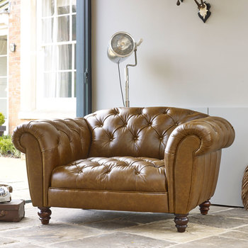 Wellington Semi Aniline Leather Chesterfield Snuggler Chair, Caramel