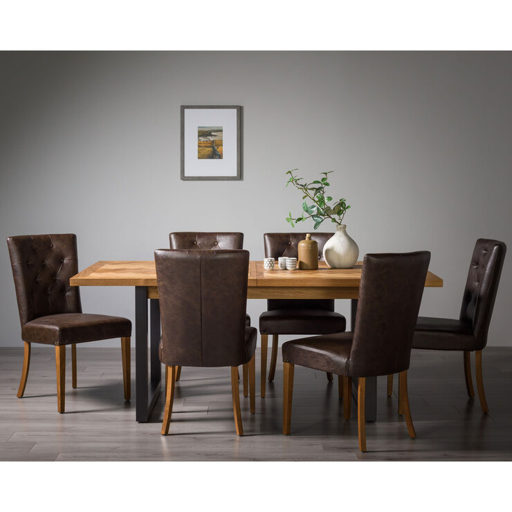 Bentley Designs Herringbone Rustic Oak Extending Dining Table 6 Chairs Seats 6 8 Costco Uk