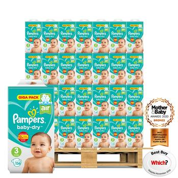 Pampers Baby-Dry Nappies Size 3, 70 x 136 Giga Pack