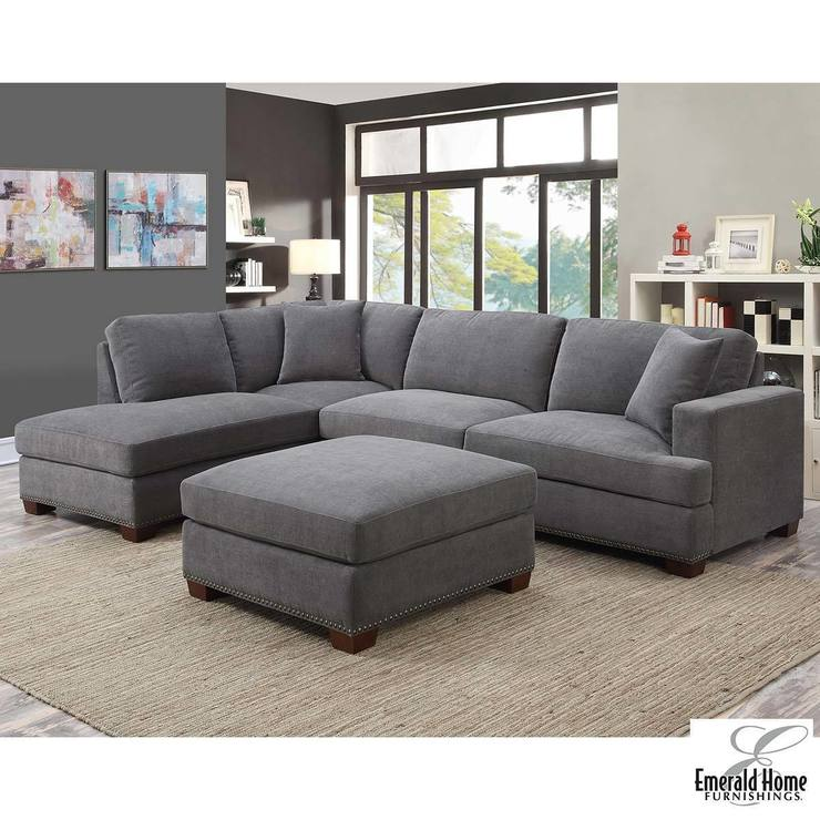 Kellen 3 Piece Grey Fabric Sectional Sofa With Ottoman + 2