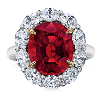Oval Cut Red Spinel and 2.15ctw Diamond Ring, Platinum and 18ct Yellow Gold