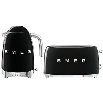 Smeg 50's Retro Style Aesthetic KLF04 Kettle  & TSF02 4-Slice 2-Slot Toaster Black
