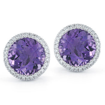 Round Cut Purple Amethyst and 0.18ctw Diamond Earrings, 18ct White Gold