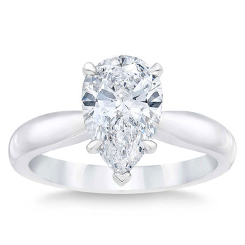 3.09ct Pear Cut Diamond Solitaire Ring, Platinum