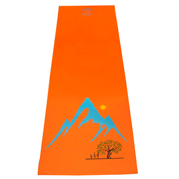 "Sure Shot 5ft11"" (1.8m) Yoga Mat - Orange with Mountain Design"