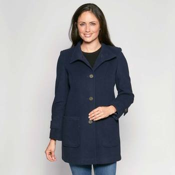 David Barry Woman's Cashmere Mix Coat in Navy and in 6 Sizes