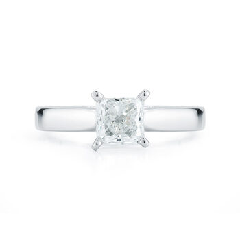 0.50ct Princess Cut Diamond Solitaire Ring, 18ct White Gold