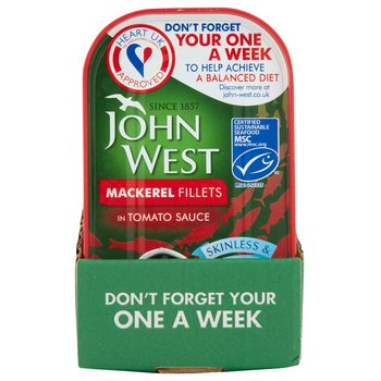 John West Mackerel Fillets in Tomato Sauce, 10 x 125g