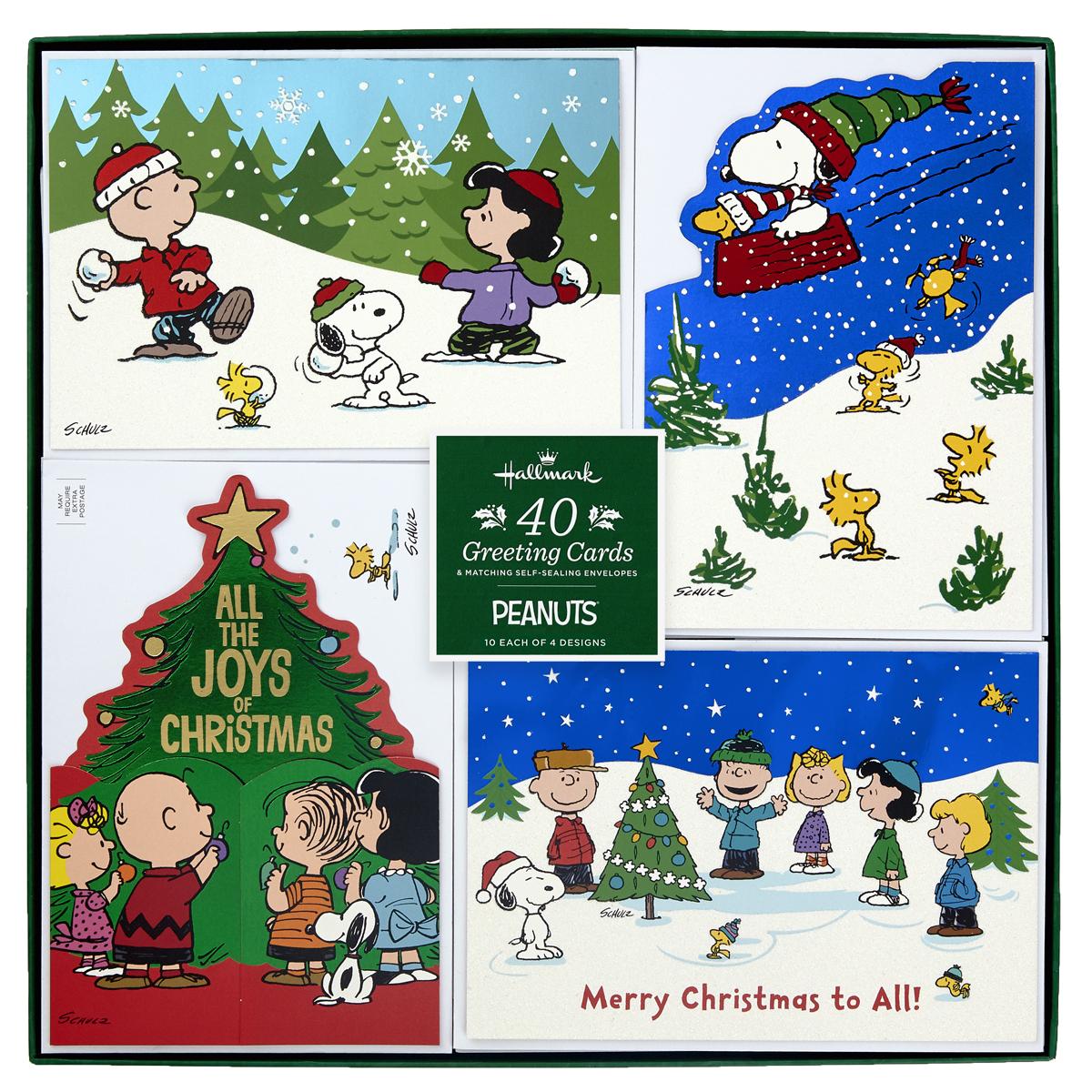Hallmark Hand Crafted Christmas Card Assortment Peanuts 40 Pack Costco Uk