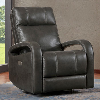 Kuka Grey Leather Power Recliner Chair with Swivel & Glide