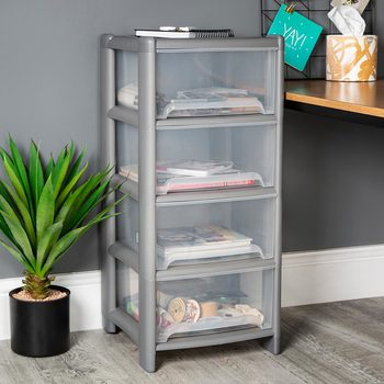 Wham Deep 4 Drawer Plastic Storage Tower in 2 Colours