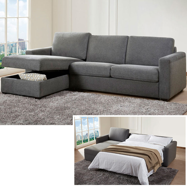 Kuka Tamara Grey Fabric Chaise Sofa Bed With Storage U0026 Memory Foam Mattress