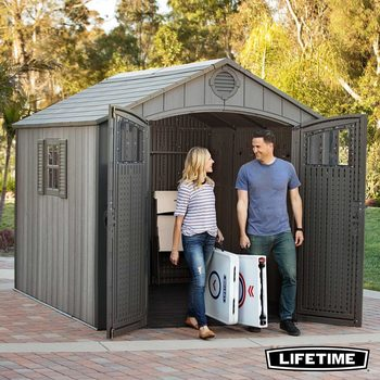 Lifetime 8ft x 10ft (2.4 x 3.0m) Simulated Wood Look Storage Shed with 1 Window and 3 Window Panes per Door