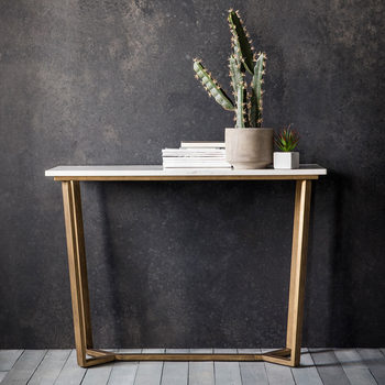 Cleo White Marble Console Table