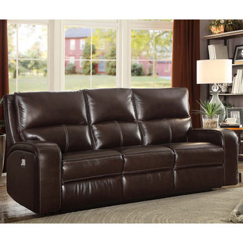 Zach 3 Seater Brown Leather Power Recliner Sofa