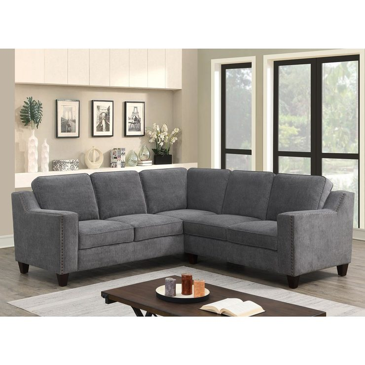 Fine Mstar International Ellendale Grey Fabric Sectional Sofa Costco Uk Alphanode Cool Chair Designs And Ideas Alphanodeonline