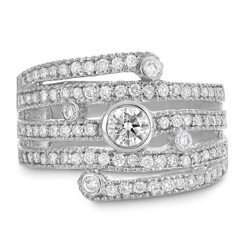 0.97ctw Round Brilliant Cut Diamond Ring, 18ct White Gold