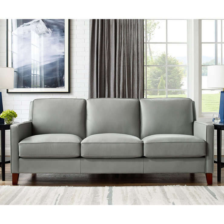 West Park 3 Seater Light Grey Leather Sofa | Costco UK