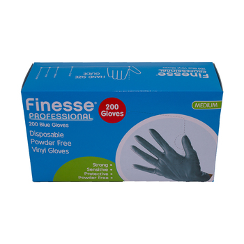 Finesse Professional Blue Vinyl Gloves, Pack of 200