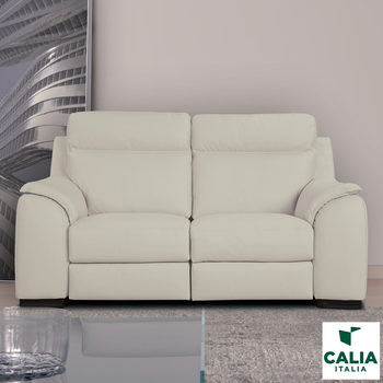 Calia Italia Serena 2 Seater Power Recliner Cream Italian Leather Sofa