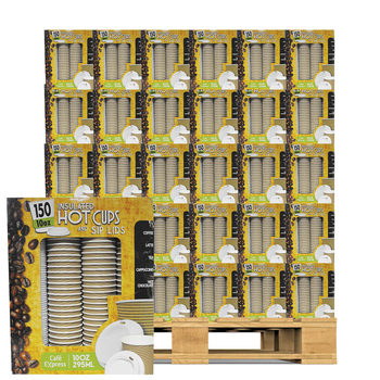 Cafe Express 10oz / 295ml Insulated Hot Cups with Sip Lids, 150 Pack Pallet Deal (45 Units)
