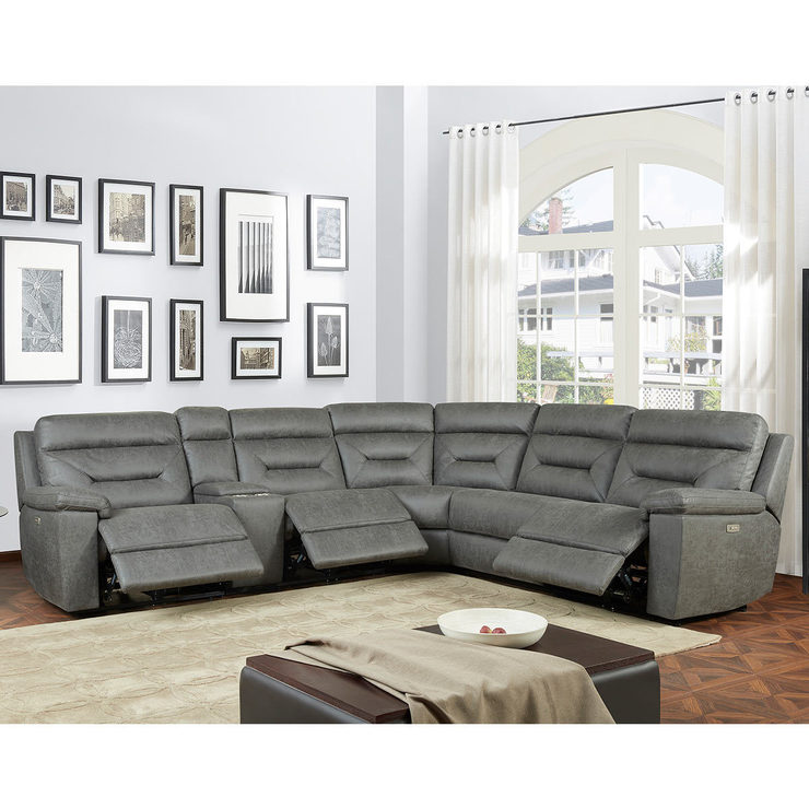 Remarkable Kuka Justin Grey Fabric Power Reclining Sectional Sofa Costco Uk Alphanode Cool Chair Designs And Ideas Alphanodeonline
