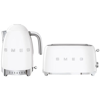 Smeg 50's Retro Style Aesthetic KLF04 Kettle & TSF02 4-Slice 2-Slot Toaster White
