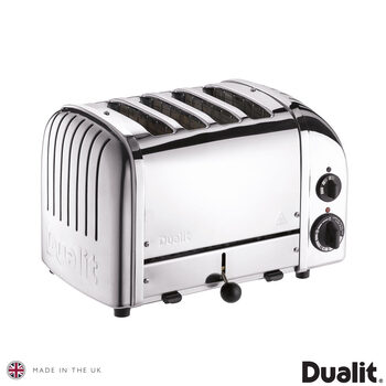 Dualit Classic 4 Slot Toaster With Sandwich Cage, Polished Stainless Steel 40590
