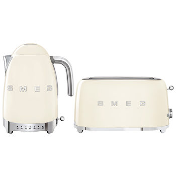 Smeg 50's Retro Style Aesthetic KLF04 Kettle  & TSF02 4-Slice 2-Slot Toaster Cream