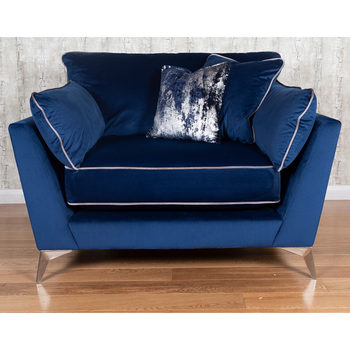 Roko Blue Velvet Snuggler Chair