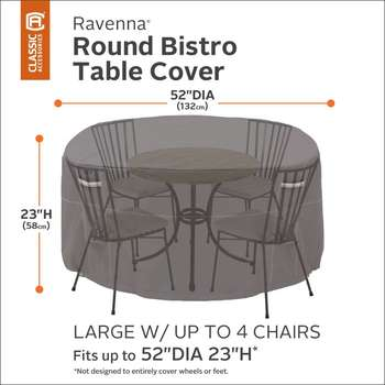Classic Accessories Ravenna Round Patio Bistro Table & Chair Set Cover
