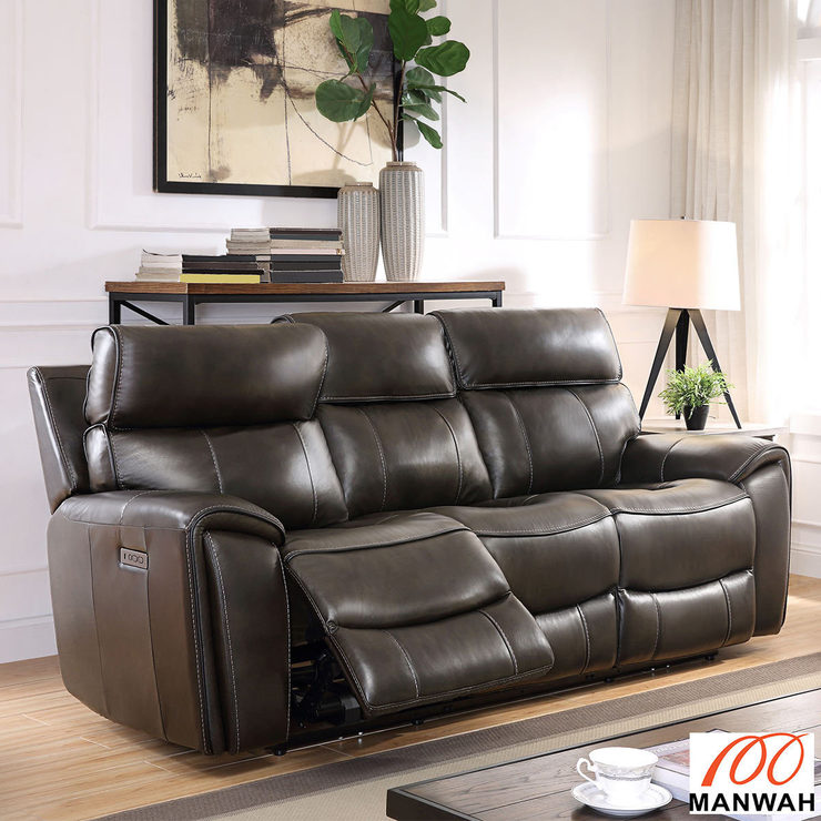 Manwah Keegan 3 Seater Brown Leather Power Recliner Sofa | Costco UK