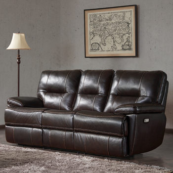 Kuka 3 Seater Brown Leather Power Recliner Sofa