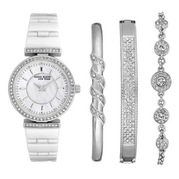 Anne Klein New York Swarovski Crystal Accented Ladies Silver Tone Watch and Bracelet Set