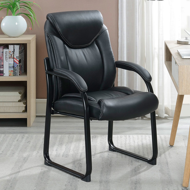 Costco Leather Dining Chairs: True Innovations Black Bonded Leather Guest Chair