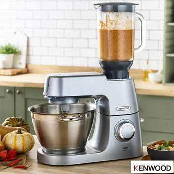 Kenwood Chef Elite XL Stand Mixer, 6.7L, KVL6100S + Pro Slicer Attachment + Glass Blender