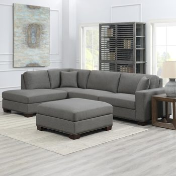 Thomasville Artesia Grey Fabric Sectional Sofa with Ottoman