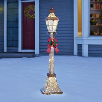 6ft (1.8m) Christmas Street Lamp & Bow, with 120 LED Lights