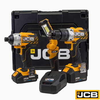 JCB Tools Professional 18V Brushless Combi Drill and Impact Driver Kit