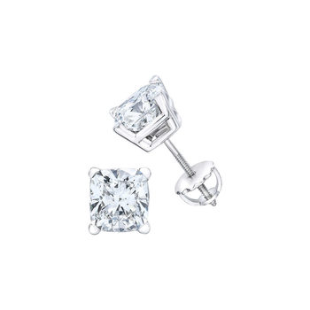 3.41ctw Cushion Cut Diamond Stud Earrings, Platinum
