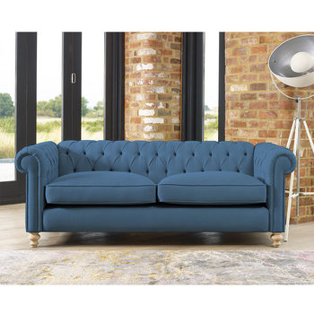 Chesterfield Button Back 4 Seater Fabric Sofa in 5 Colours