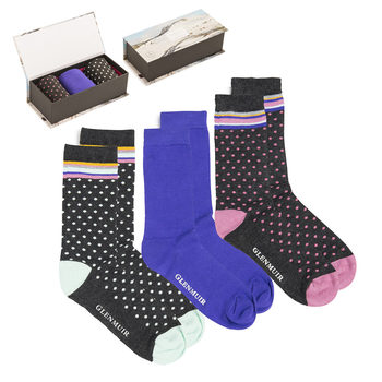Glenmuir 2 x 3 Pack Women's Bamboo Socks Gift Box in Charcoal