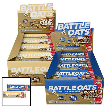 Battle Oats Chocolate Brownie and White Chocolate Coconut Protein Flapjack Bars, 24 x 70g