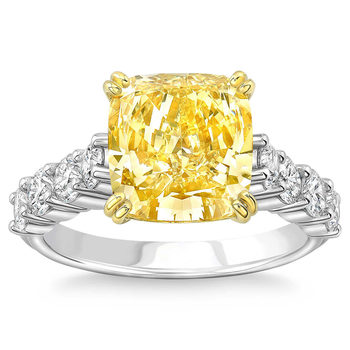 6.05ctw Cushion Cut Fancy Yellow Diamond Ring, Platinum and 18ct Yellow Gold