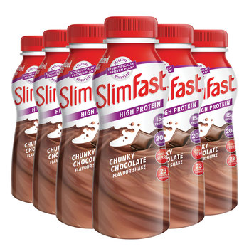 SlimFast Chunky Chocolate Meal Replacement Shakes, 18 x 325ml