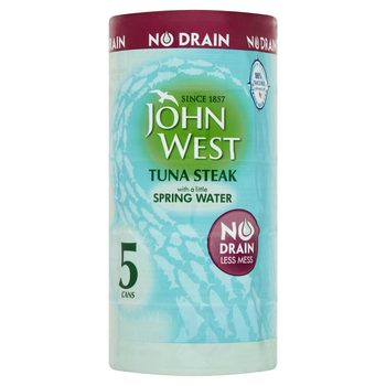Front on image of 5 tins of John West Tun wrapped in plastic