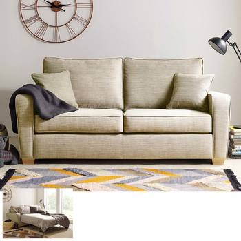 Las Vegas 2 Seater Fabric Sofa Bed with Foam Mattress, Natural